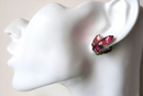Gorgeous Pink Marquis Clip-on Earrings - 1940s/50s