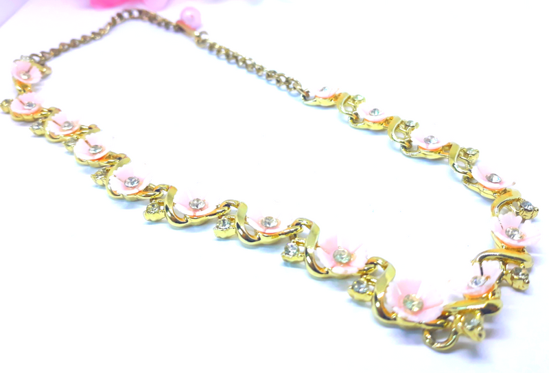 1960s Vintage Pink and Rhinestone Floral Necklace