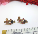 Magnificent Pink and Gray Rhinestone Screwback Earrings - 1950s/60s