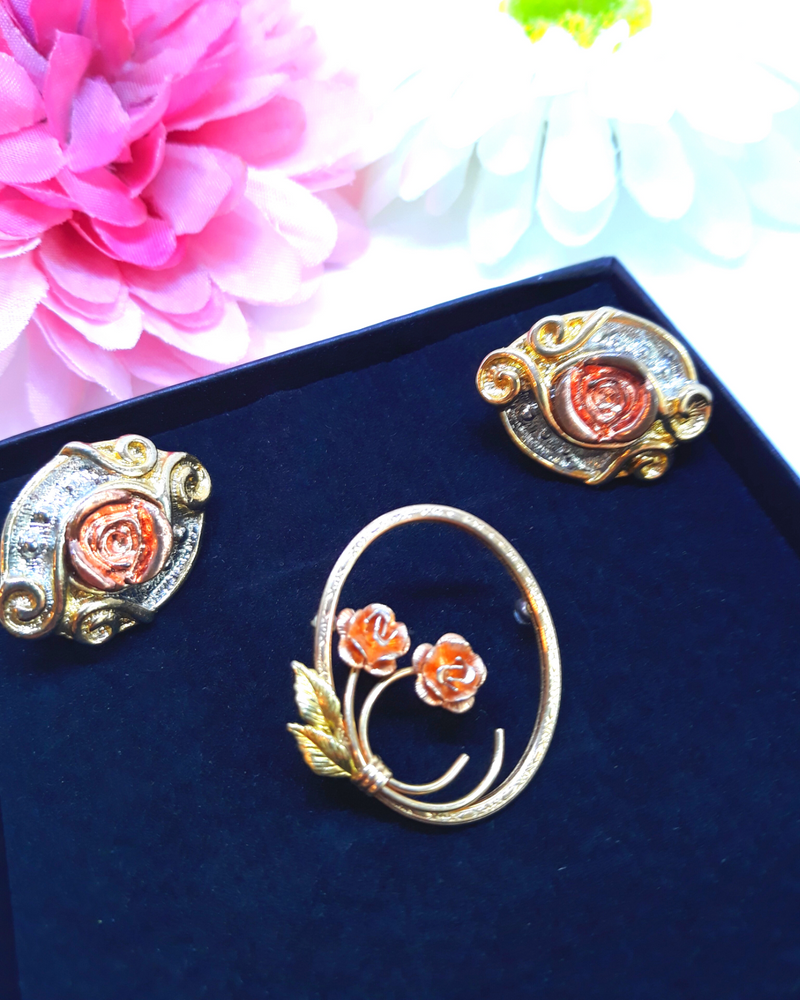 Brooch and Earring Duo: Delicate Dusty Pink Floral Brooch with Gold & Silver Earrings
