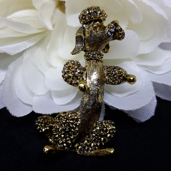 1970s Gold Poodle Brooch - Pin created by Gerry's Creations