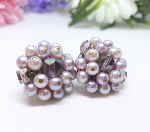 Purple Cluster Fruit Salad Earrings - 1950s - Made in Japan