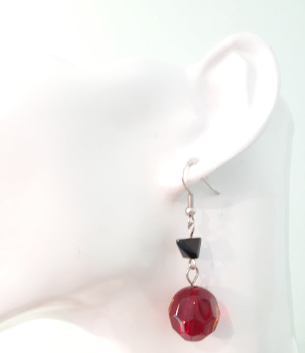 Gorgeous Red and Black Pierced Dangle Earrings, 1990s