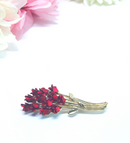 Vintage Red Rose and Gold Brooch, C 1997