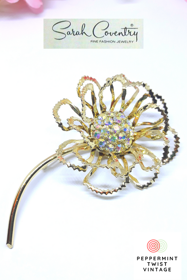 1968  Allusion - Sarah Coventry Brooch - Stunning - Gold and Rhinestones Gorgeous Allusion - Sparkly Statement Brooch