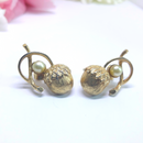 Sarah Coventry Mid-Century Goldtone Acorn and Pearl Earrings