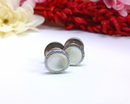 Mother of Pearl Silver Snap Cuff Links, 1960s-70s