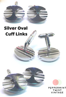 Vintage Silvertone Oval Cuff Links - Mid Century Style