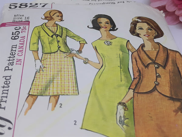 Simplicity 5827 - 1963 A-Line Dress Pattern, Size 8 (Old Size 16), Uncut