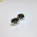 Gorgeous SWANK Men's Silver Round Cuff Links with Rhinestone Center, 1960s