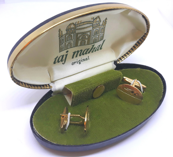 Taj Mahal Original Brand Cuff Links and Tie Clip, Gold Plated - Mint Condition