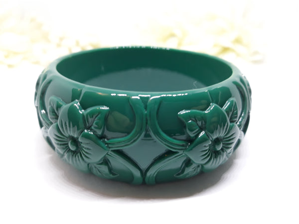 Vintage Inspired, Dark Teal Carved Tiki Bangle, 1940s Inspired - NEW