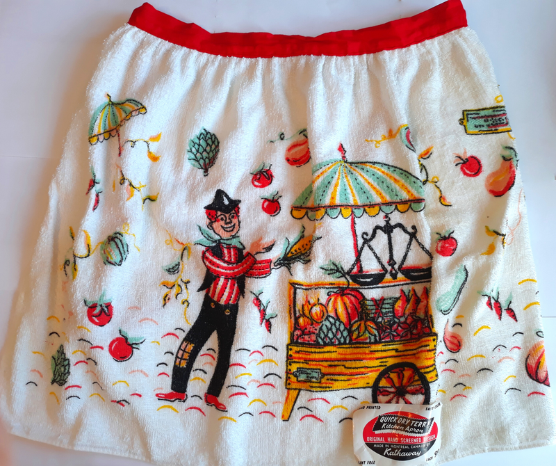 Thanksgiving Harvest Apron - 1960s Vintage - New Never Used, Quick Dry Terry by Hathaway