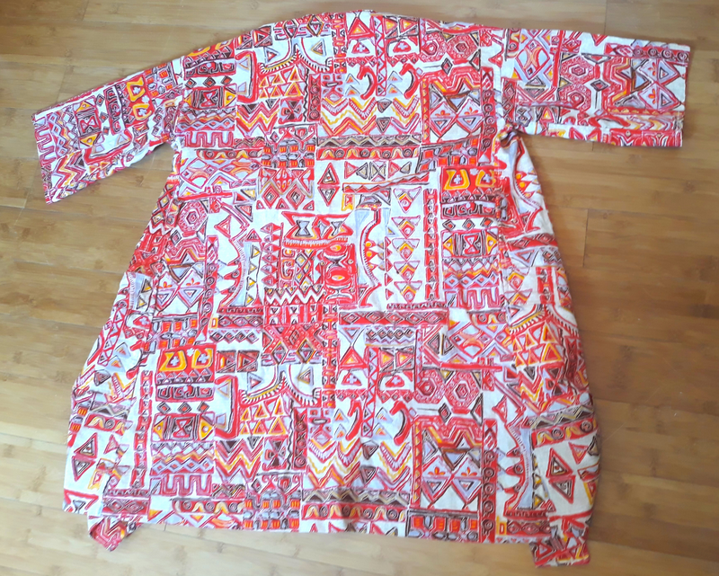Vintage Barkcloth Tiki Style Swimsuit Cover with Belt, 1960s Size M-L