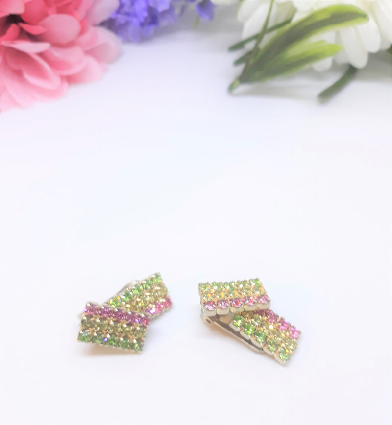 1950s Pink, Yellow and Green Rhinestone Rectangular Clip-on Earrings