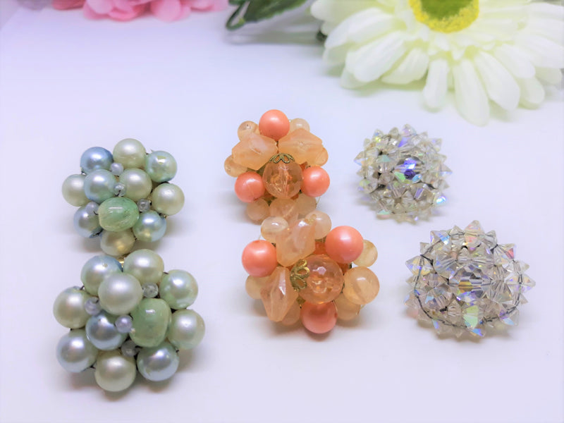 1950's Vintage Clip on Earrings Collection  - 3 PAIRS, Orange, Aurora Borealis and Pale Blue