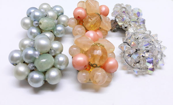 1950's Spring Vintage Clip on Earrings Collection  - 3 PAIRS, Orange, Aurora Borealis and Pale Blue