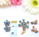 Turquoise Rhinestone Flower Brooch Pin & 2 Pair of Clip-On Earrings 1950s - 60s