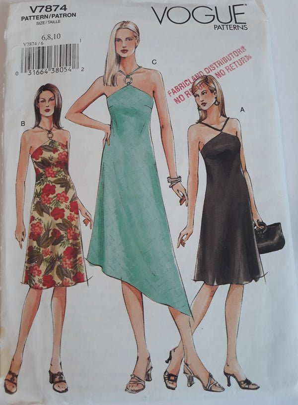 Vogue 7874 Woman's Dress Sewing Pattern, Size 6, 8, 10 - Uncut, Timeless Dress Pattern