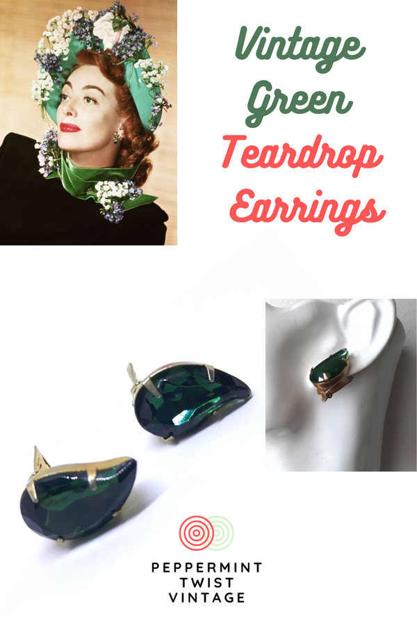 Gorgeous Green Teardrop Earrings - Clip-On Earrings