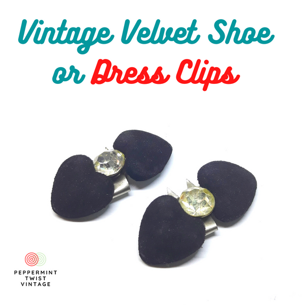 Gorgeous 1950/60s Vintage Dress or Shoe Clips- Velvet with Rhinestone Center