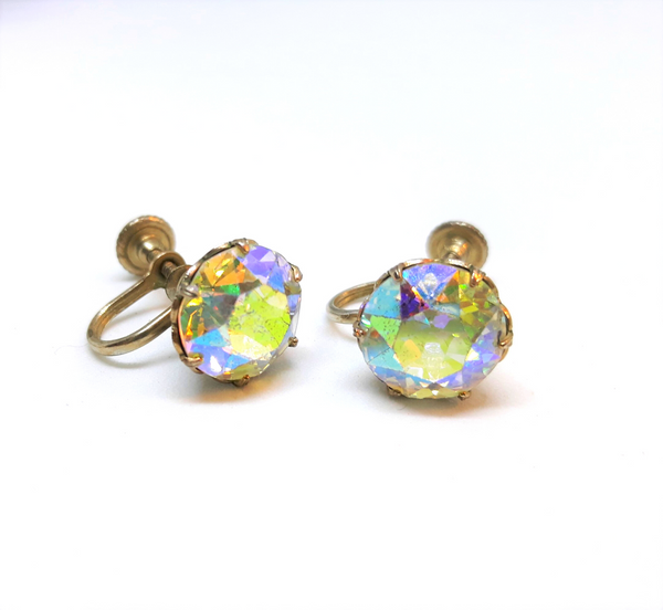 1940s Weiss Austrian Crystal Aurora Borealis Screw Back Earrings