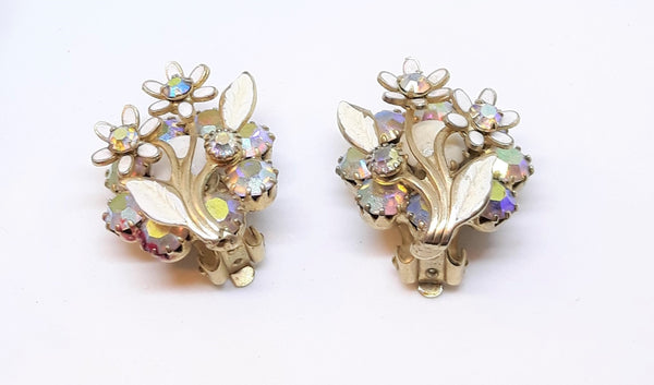 Weiss Signed, Double Layered Floral Whilte Aurora Borealis Clip-on Earrings, 1960s