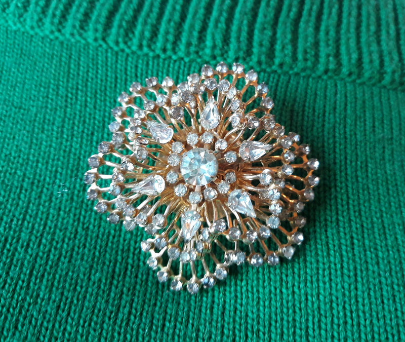 Large 1960s Sparkly Rhinestone Floral Brooch with Matching Earrings