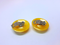1960s Canary Yellow Lucite Button Earrings - Made in Germany