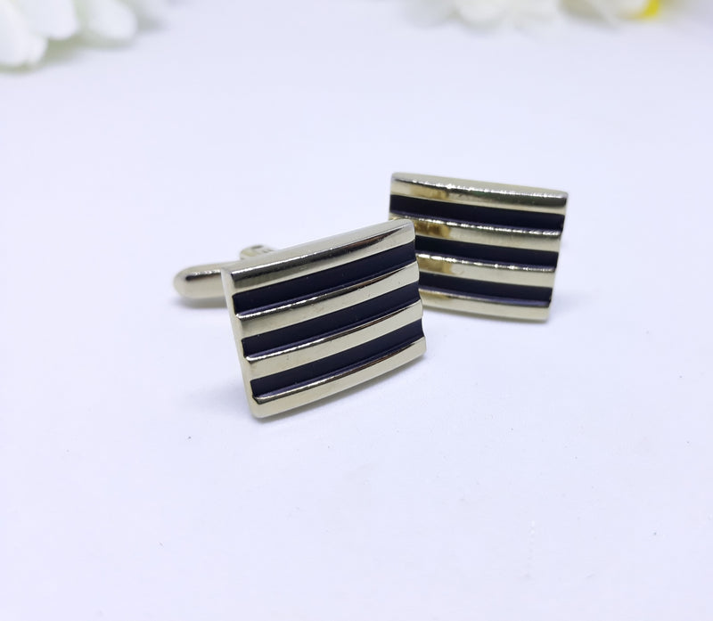 Men's Cuff Links -  Stylish Mid Century Modern, Black and Gold