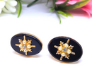 Starburst Centered, Gold, Pearl and Black Oval Earrings - Clip-on Earrings