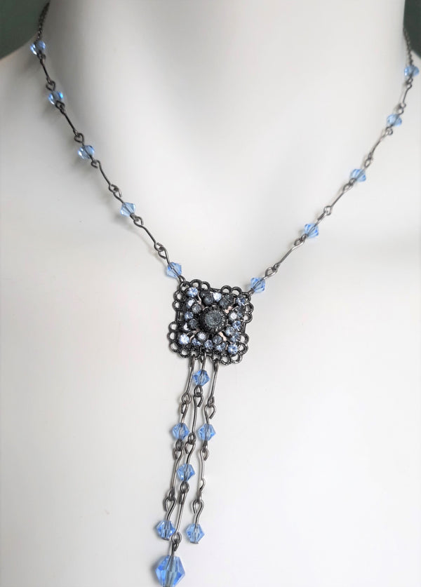 Blue and Antique Silvertone Dangle Necklace, Victorian Style