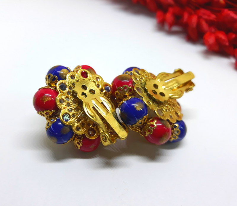 Vintage Red, White and Blue Clip-On Earrings - Faux Pearl encased in gold, 1950s - 1960s Unsigned