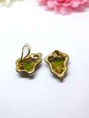 1940s BSK Signed Gold Tone Clip-on Earrings with Amber Stones RARE