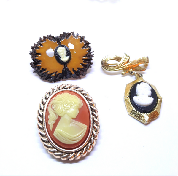 Lot of three vintage cameos - Two brooches and one Made in W Germany Scarf Clip - gorgeous, elegant