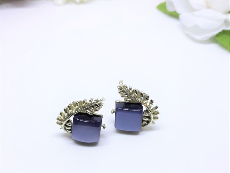Coro Signed, Blue Pantone Thermoset 1950s-60s Earrings
