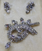 CORO Demi-Parure Brooch +  Earrings - Rhinestone, Unsigned, 1950s, with ORIGINAL box, Rhinestones