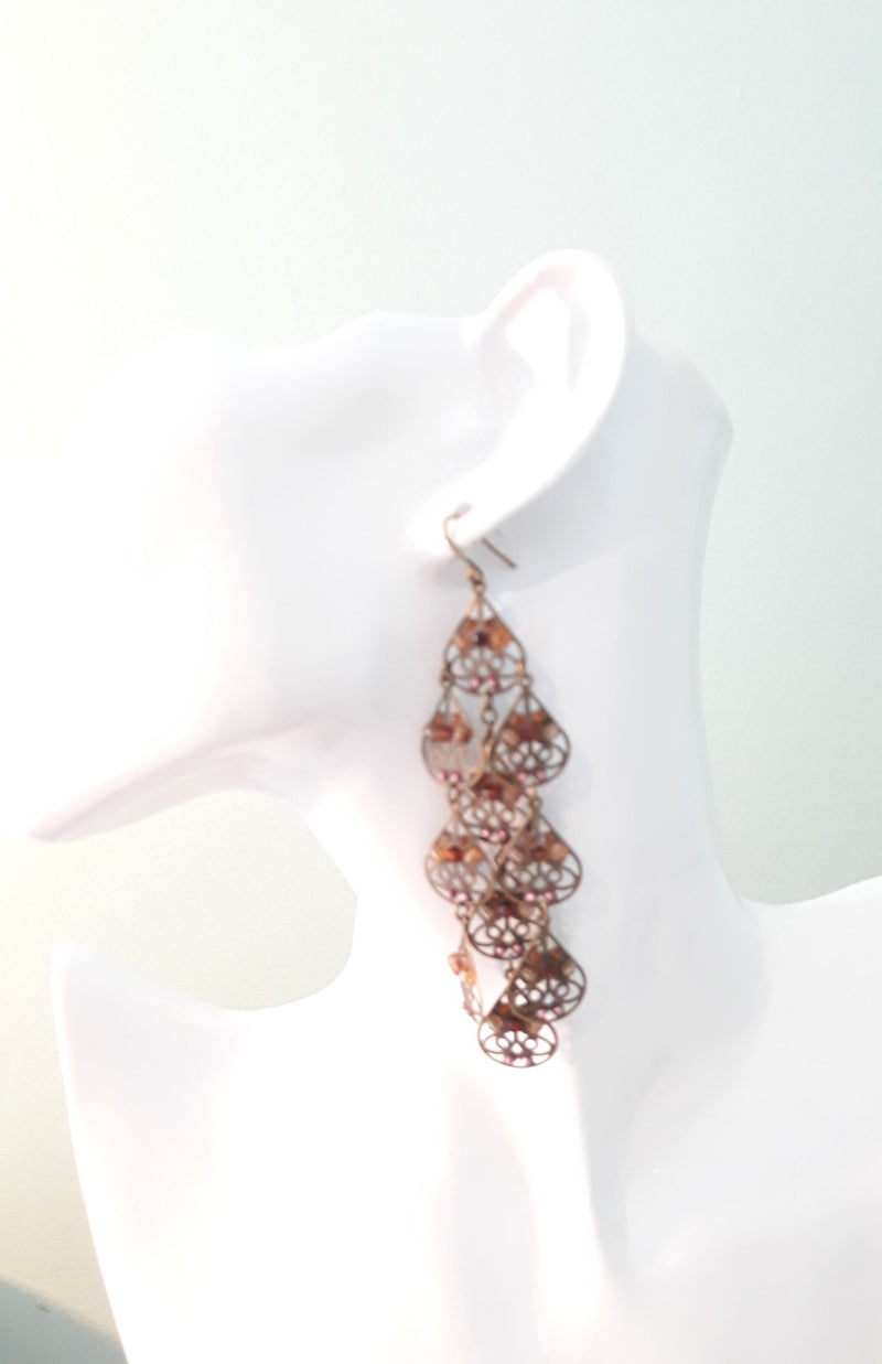 Large Dangle Pierced Earrings - Modern Brown Tone