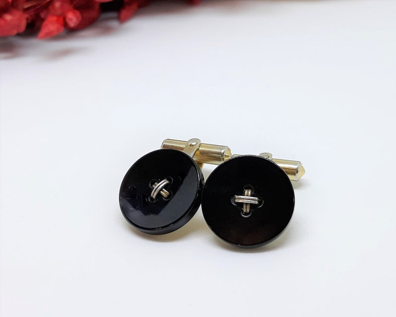Exceptional Christian Dior, Signed 1950s Cuff Links - Black Onyx Buttons