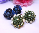 Vintage Earring Duo - Large 1950s-60s Blue and Green Clip-on Statement Earrings