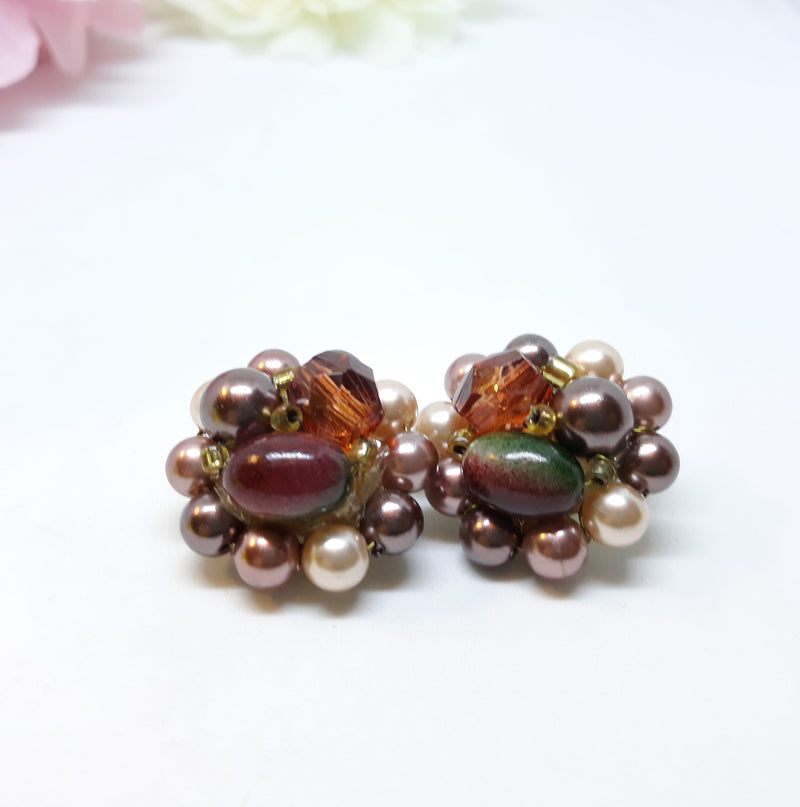 Multi-Coloured Beaded, Made in Japan, Clip on Earrings, 1950s