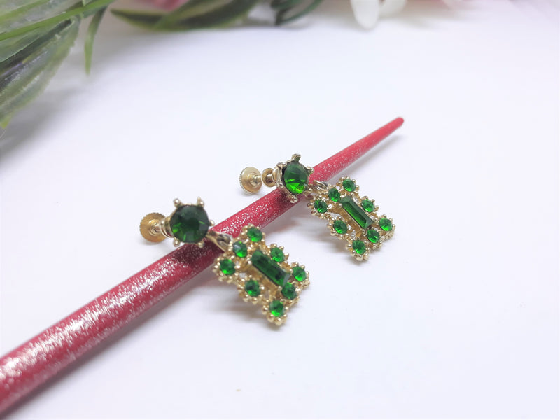 Green Emerald and Gold Square Drop Earrings - Glamorous