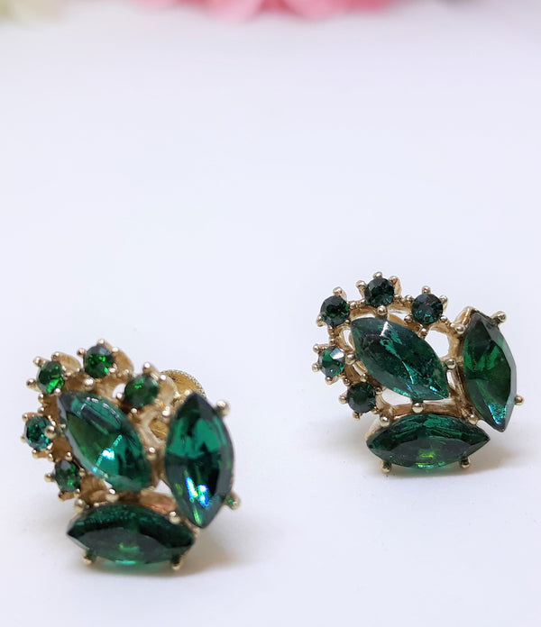 Eye-catching Emerald Green Marquis & Rhinestone 1950s-60s Earrings