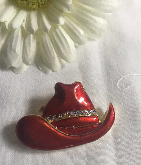 Red Cowboy Hat Brooch - New, Great Gift, Red with Rhinestones, Ready to Ship