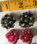 "1950's LARGE 1.5"" Vintage Clip-on Earrings - Pink and Green Set of Two - Large size - Ready to Ship"