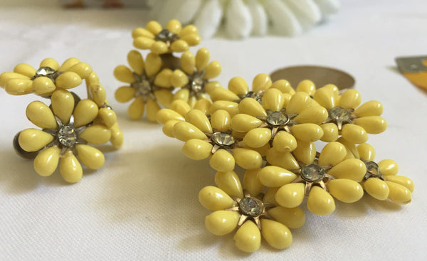 1950's,  Butter Yellow Brooch and Earrings - Rare Find, Yellow, Rhinestones, Coro