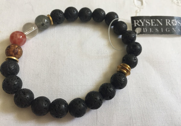 Rysen Rose Elements Bracelet With Black Lava Rocks - NEW - Regifted, with tag, Ready to Ship
