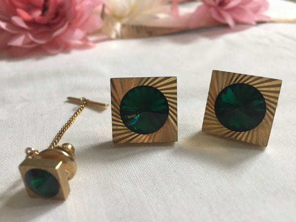 1960's Mid Century Modern Cuff links with Tie Clip - Green with Gold with Gift Box
