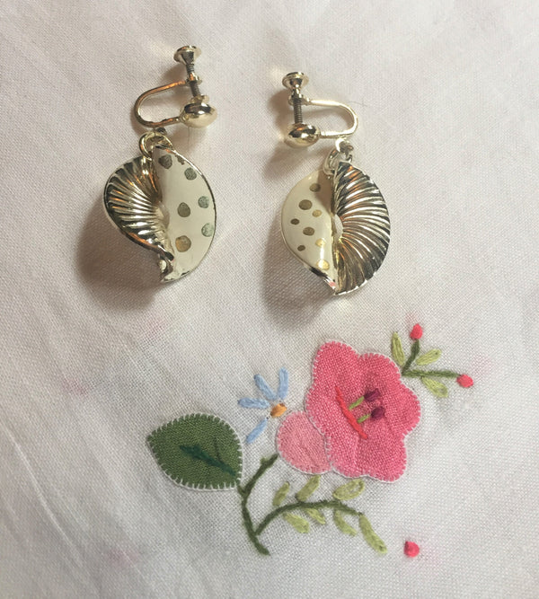 Vintage White and Gold Polka Dot Screw-Back Earrings, Made in Germany, Pre-1970s,