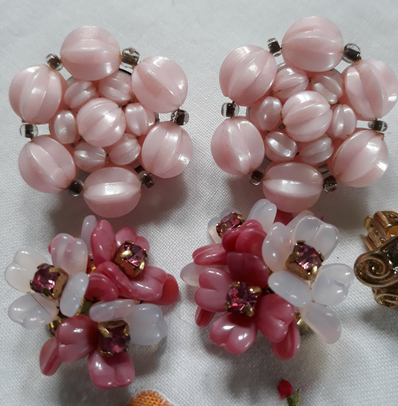 Vintage Pink Jewelry Lot - 4 Earrings + Vintage Brooch Set - 1950s-1960's Made in West Germany